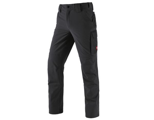 Work Trousers: Winter funct. cargo trousers e.s.dynashield solid + black