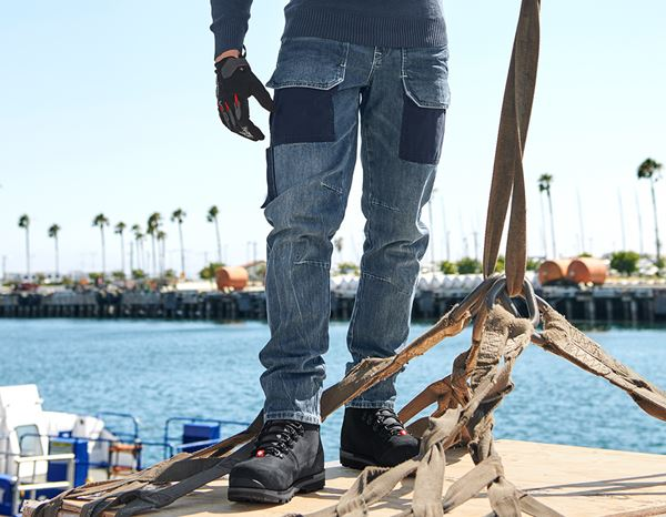 Work Trousers: e.s. 7-pocket jeans POWERdenim + stonewashed