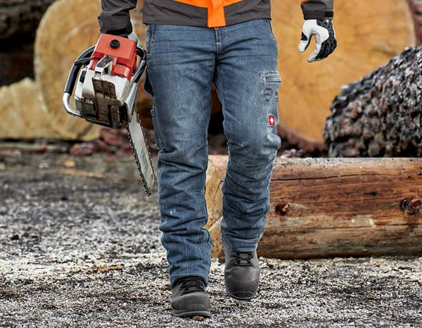 Work Trousers: e.s. Forestry cut-protection jeans + stonewashed