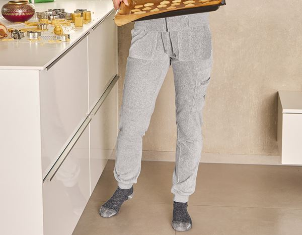 Accessories: e.s. Homewear cargo trousers, ladies' + grey melange