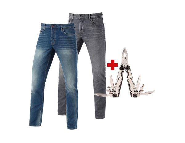 Bekleidung: 2x e.s.5-Pocket Stretch-Jeans slim + Multitool + mediumwashed+graphitewashed