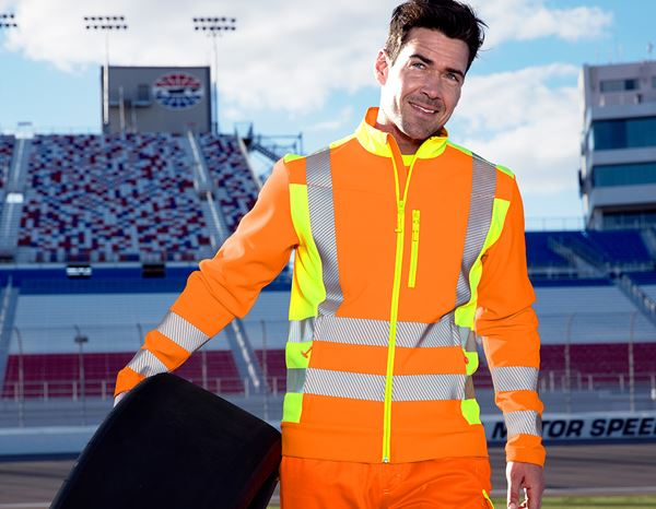 Work Jackets: High-vis softshell jacket softl. e.s.motion 2020 + high-vis orange/high-vis yellow