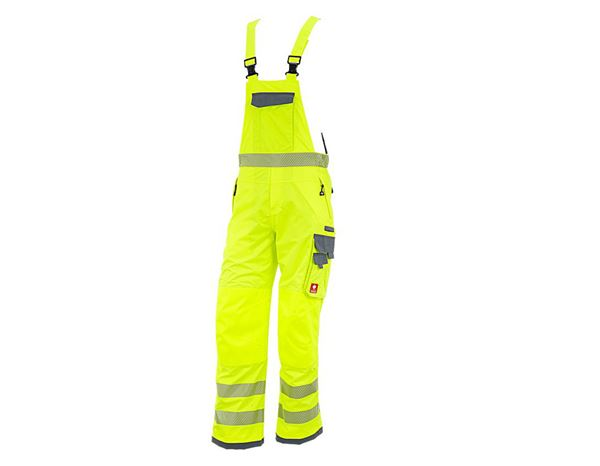 Work Trousers: High-vis functional bib & brace e.s.prestige + high-vis yellow/grey