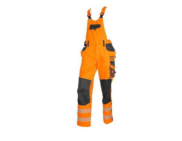 Work Trousers: High-vis bib & brace e.s.motion + high-vis orange/anthracite