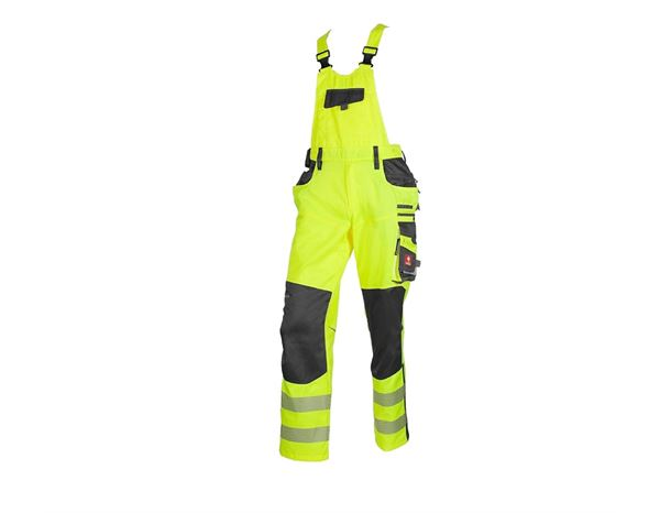 Work Trousers: High-vis bib & brace e.s.motion + high-vis yellow/anthracite