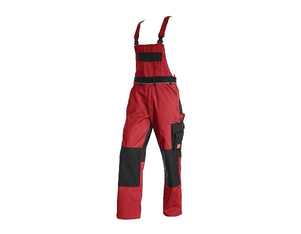 Work Trousers: Bib & Brace e.s.image + red/black