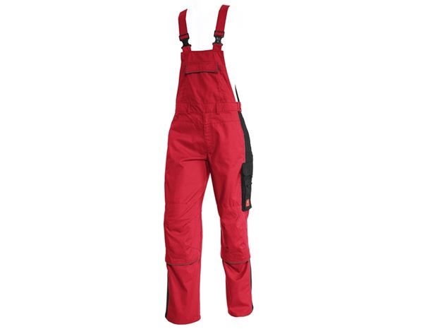 Work Trousers: Bib & Brace e.s.active + red/black