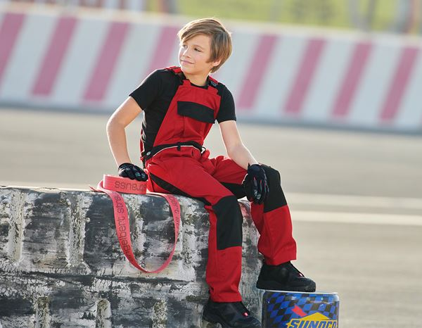 Trousers: Children's bib & brace e.s.image + red/black 1