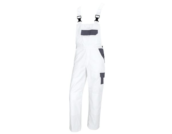 Work Trousers: STONEKIT Bib & Brace Odense + white/grey