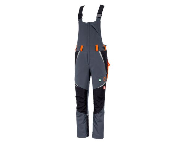 Work Trousers: e.s. Forestry cut protection bib & brace, KWF + grey/high-vis orange