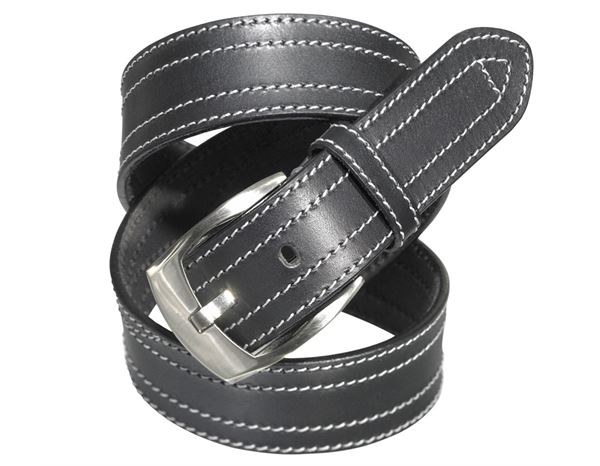 Belts / Braces: Leather belt Baxter + black