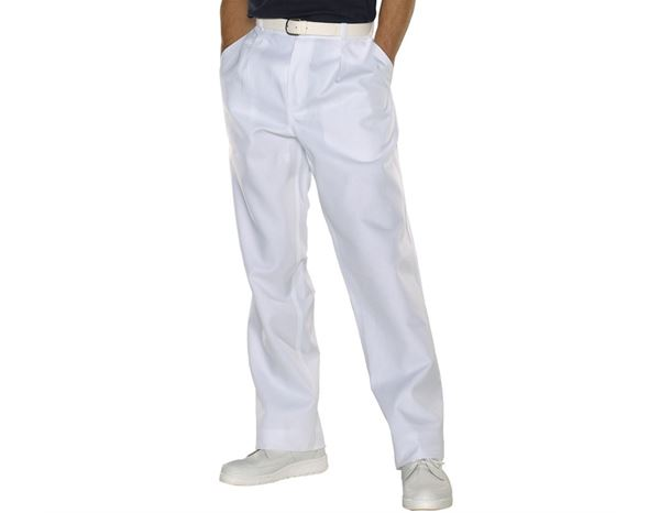 Work Trousers: Men's Trousers Tom + white
