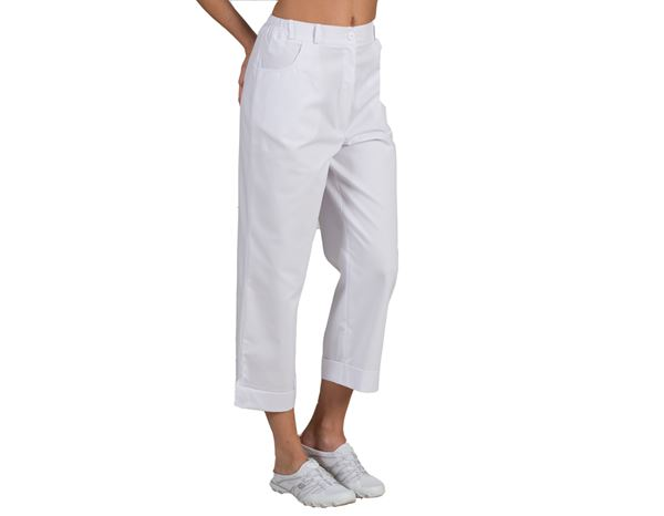 Medical / Healthcare Trousers: Stretch pants 7/8 Sabrina + white