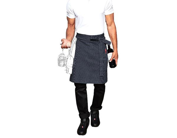 Catering Aprons: Mid-Length Apron stripe e.s.fusion, men's + blue/white