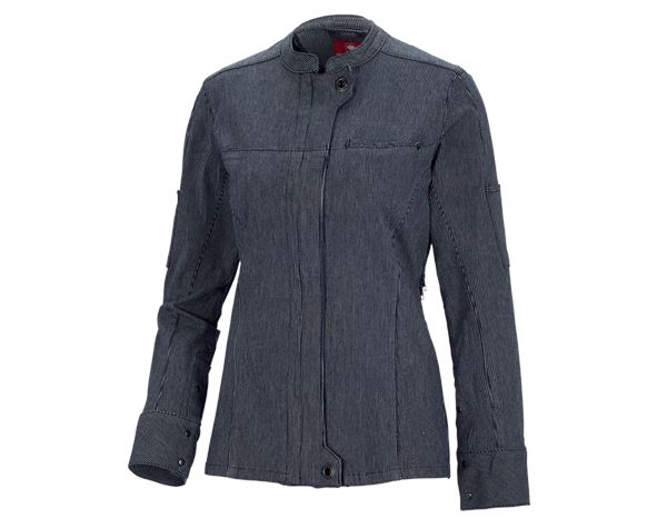 Work Jackets: Work jacket long sleeved stripe e.s.fusion,ladies' + blue/white