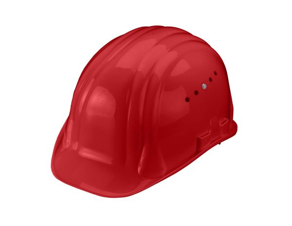 Hard Hats: Safety helmet Baumeister, 6-point, rotary fastener + red