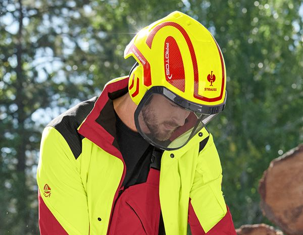 Hard Hats: e.s. Forestry helmet Protos® + high-vis yellow/fiery red 1