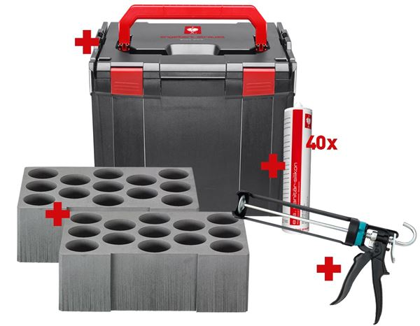System boxes: e.s. Boxx 374 sanitary silicone set + grout grey