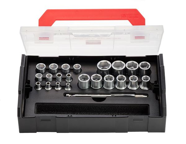 Spanners / Ratchets: e.s. Socket wrench set powergrip 1/4+1/2 in Boxx