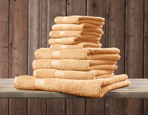 Cloths: Terry cloth towel Premium pack of 3 + apricot 1