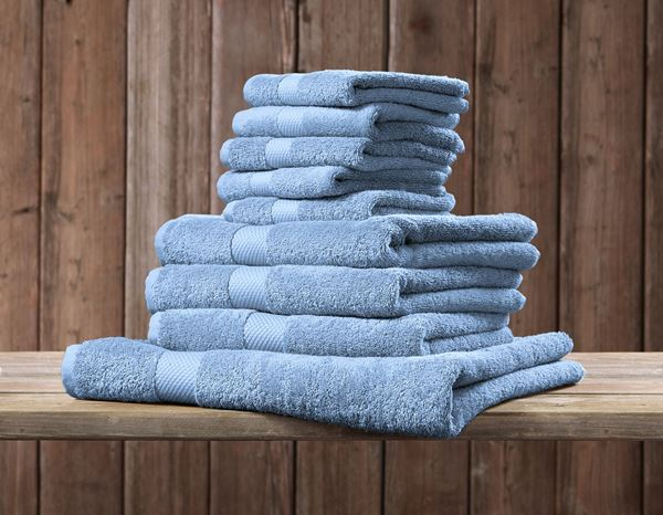 Towels: Terry cloth towel Premium pack of 3 + lightblue 1
