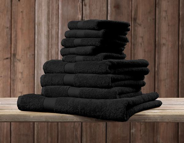 Cloths: Terry cloth towel Premium pack of 3 + black 1