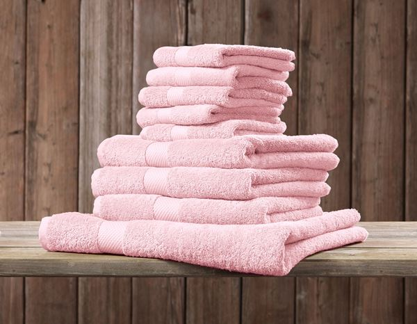 Cloths: Terry cloth towel Premium pack of 3 + light pink 1