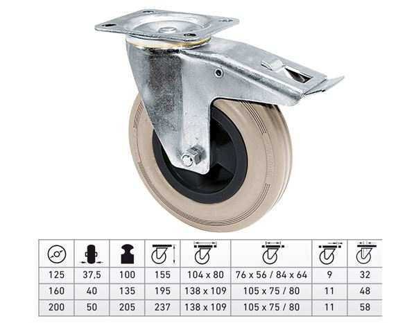Spare casters/wheels: Guide Roll with Wheel-/Total Fixing Brake