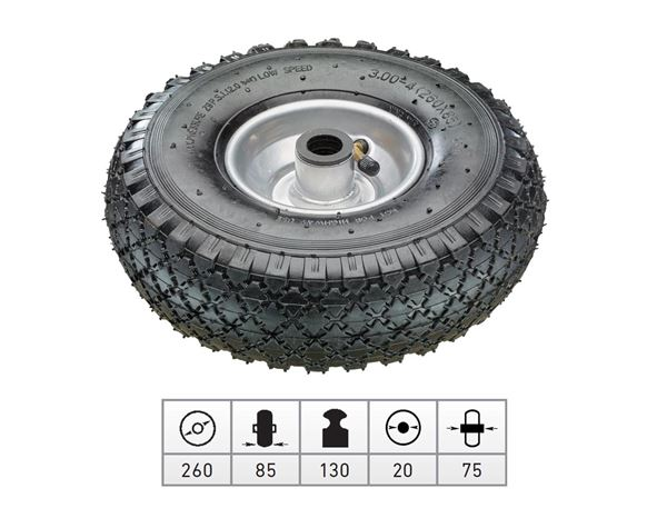 Transport rolls: Spare pneumatic wheel with steel wheel rim