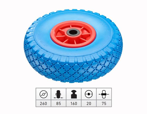 Transport rolls: Spare polyurethane wheel with plastic wheel rim