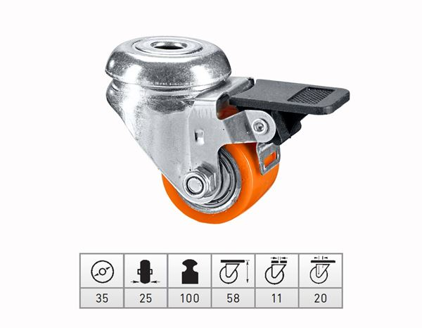 Transport rolls: Comp. heavy-duty rollers with rear hole + brake