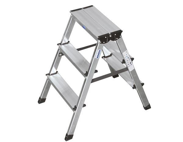 beidseitig begehbar Alu Doppeltrittleiter mit 2x4 Stufen T/ÜV gepr/üft
