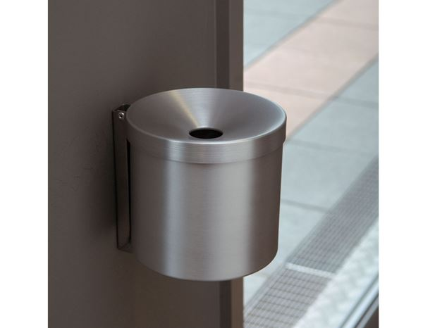 Waste Bins / Bin Bags: Wand-Aschenbecher + matt aluminium finish 1