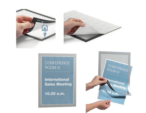 Presentation Supplies: DURABLE Magnetic frame MAGAFRAME, pack of 2 + silver 3