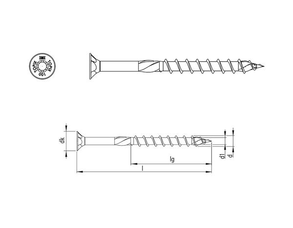 Screws: HECO-TOPIX® Construction screw Countersunk T TG zn 1